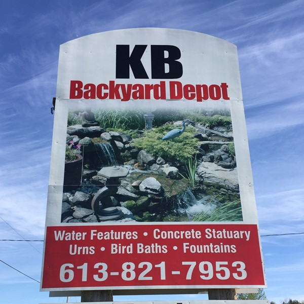 The yard sign at KB Backyard Depot