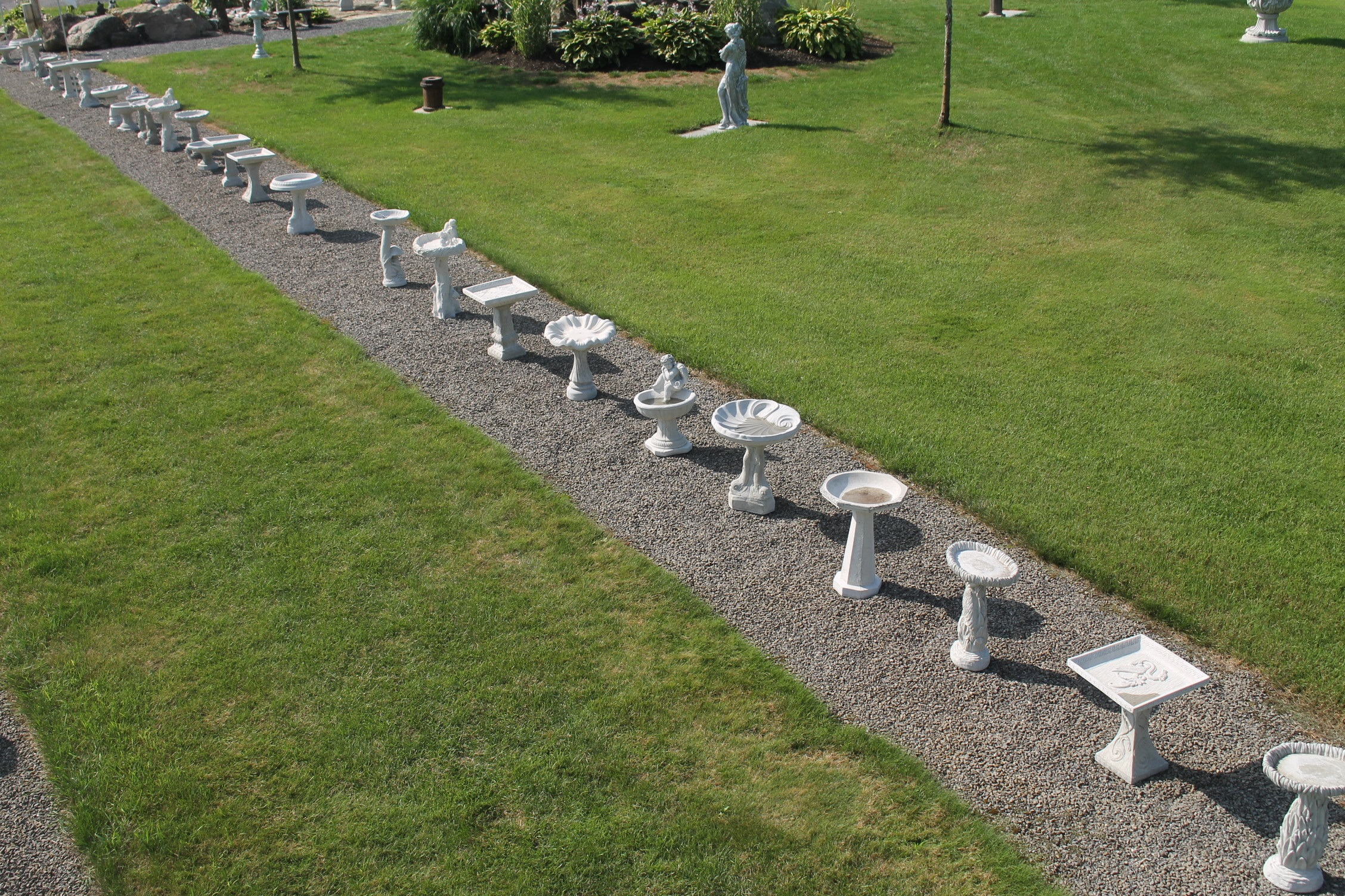 An overview picture of the small bird bath row at KB Backyard Depot
