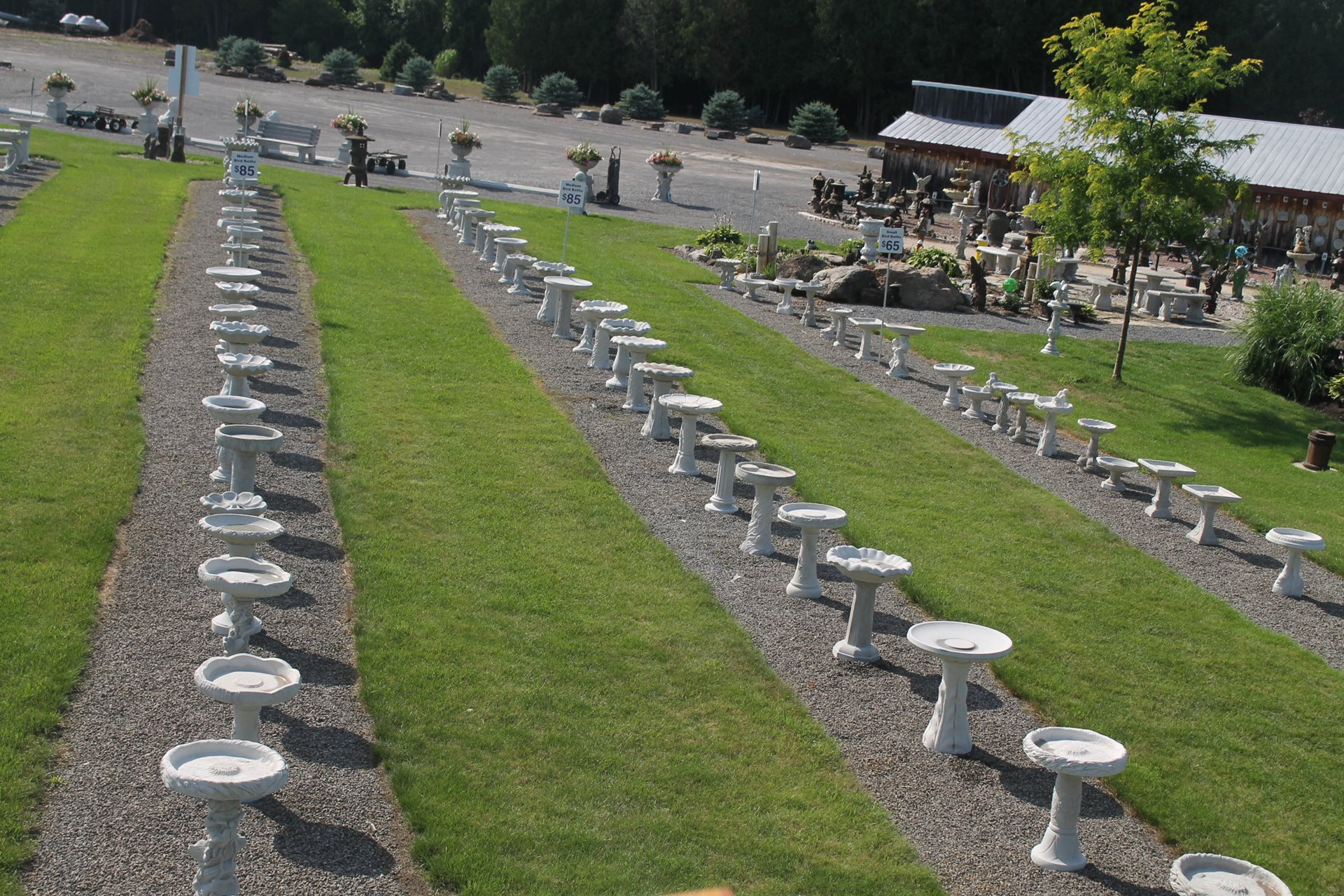 A birds eye view of the small and medium bird baths at KB Backyard Depot